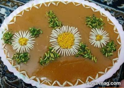 تزیین زیبا حلوا با آرد سفید