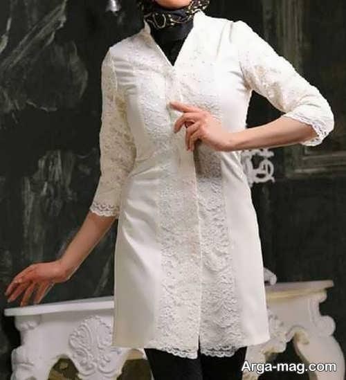 مدل مانتو سفید گیپور 97