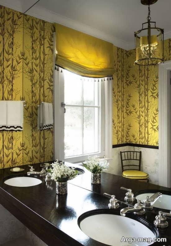 طراحی پرده آشپزخانه با تم زرد