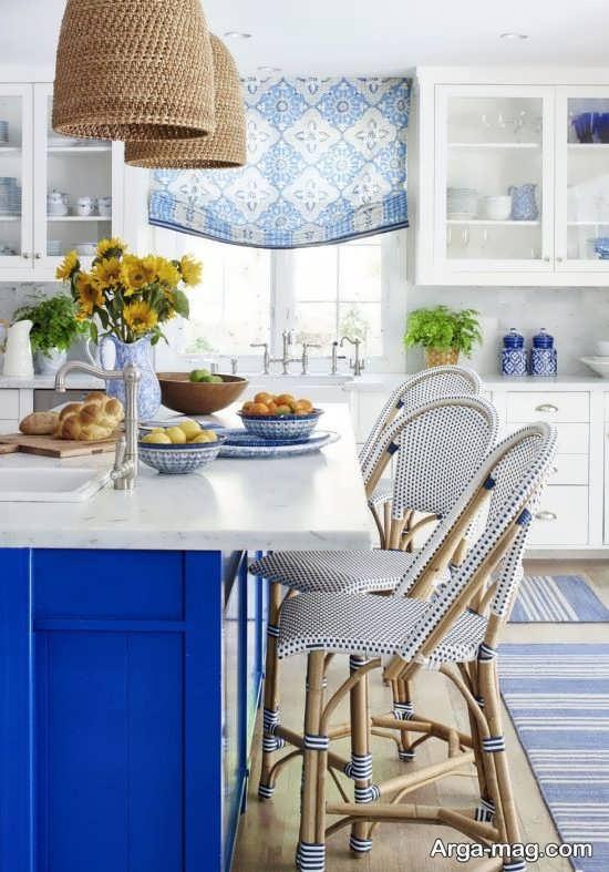 مدل پرده آبی رنگ برای آشپزخانه