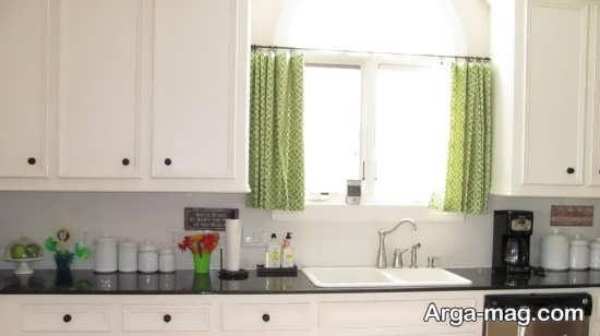 پرده آشپزخانه با تم سبز