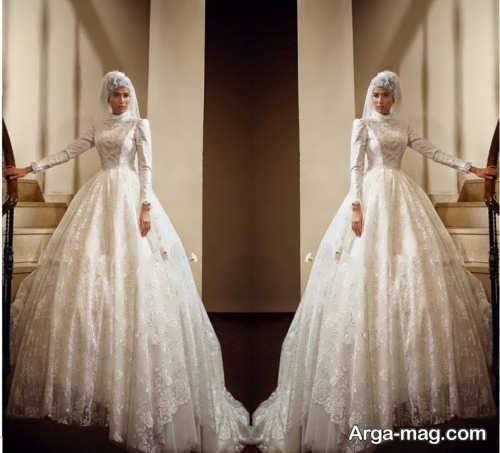 مدل لباس عروس آستین دار و زیبا