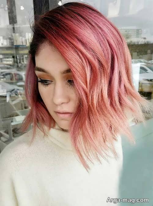 رنگ مو هلویی شیک و زیبا