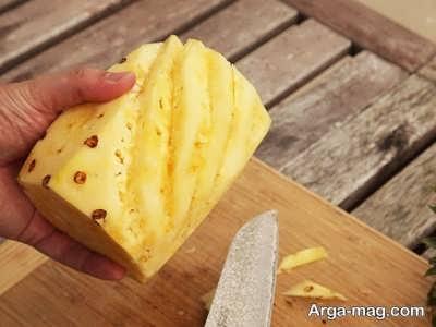 پوست کندن شیاری آناناس