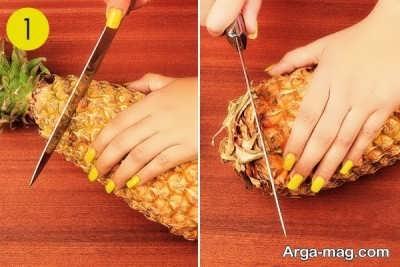 جدا کردن قسمت فوقانی و تحتانی آناناس