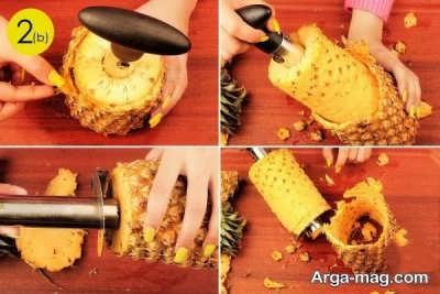 مراحل پوست کندن آناناس
