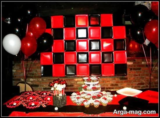 تزیینات جشن تولد با تم مشکی قرمز