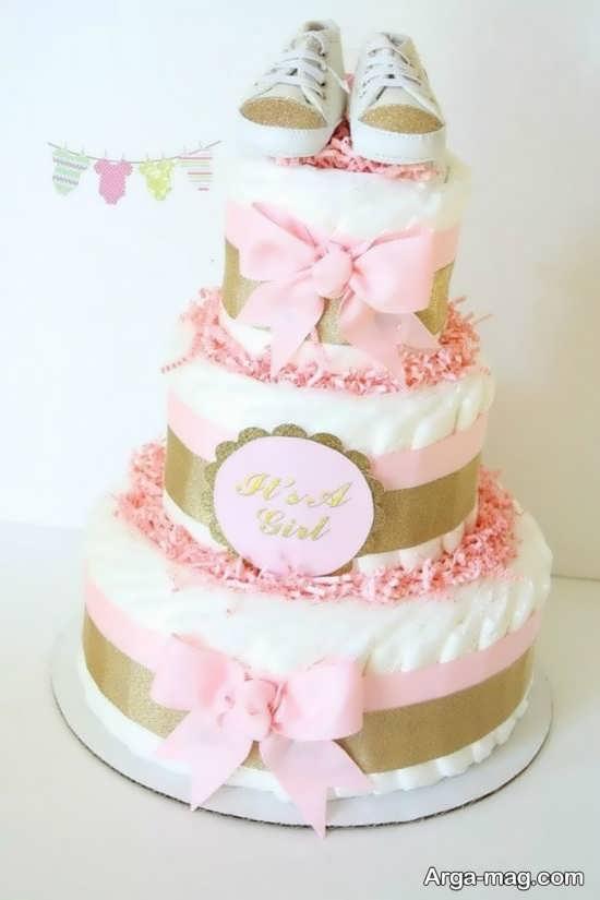 تزین کیک سیسمونی نوزاد دختر