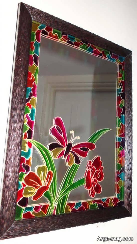 نقاشی روی آینه مستطیلی