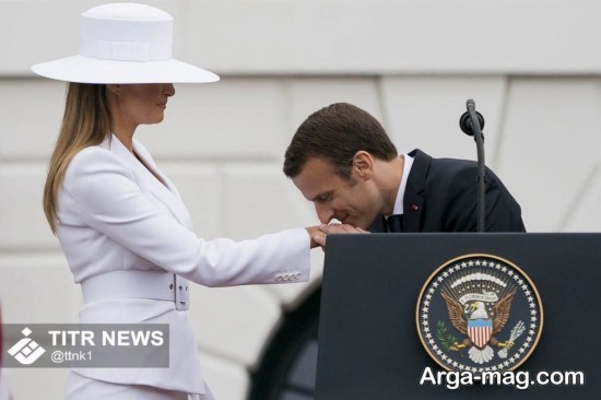 makron - بوسه رئیس جمهور فرانسه به دست همسر ترامپ