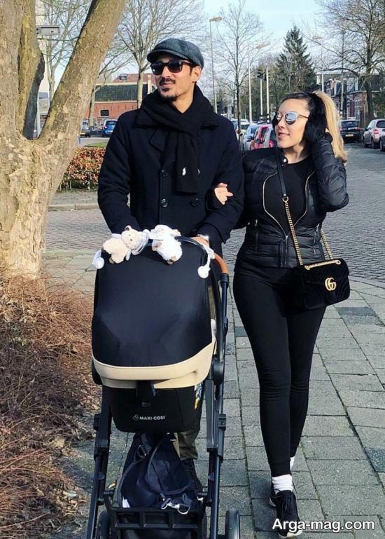 reza ghochannejad 2 - رضا قوچان نژاد و همسرش در حال پیاده روی در خیابان