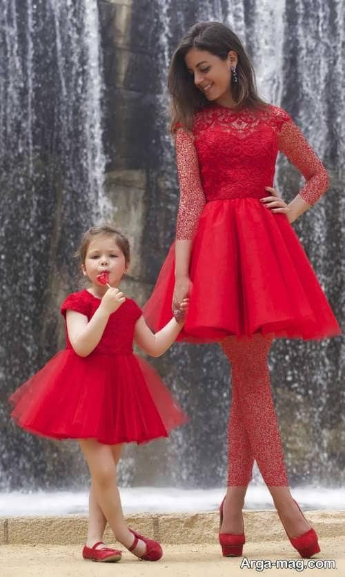 مدل لباس مجلسی قرمز ست برای مادر و دختر