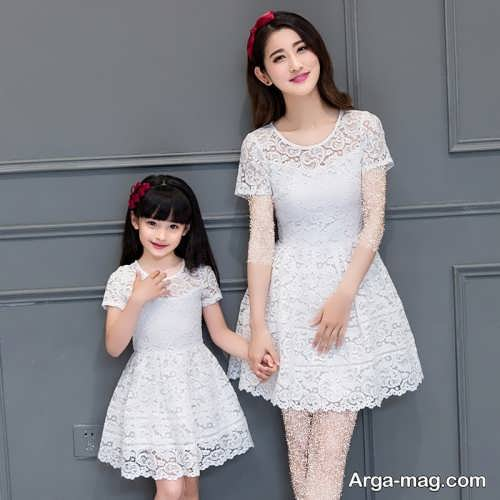 مدل لباس مجلسی ست سفید برای مادر و دختر