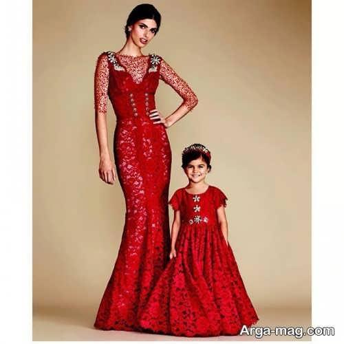 مدل لباس مجلسی بلند و ست برای مادر و دختر