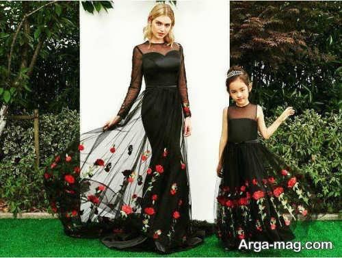 مدل لباس مجلسی ست مشکی برای مادر و دختر