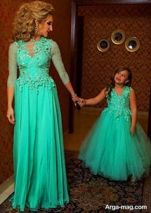 مدل لباس مجلسی سبز و بلند برای مادر و دختر