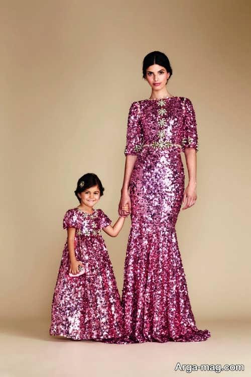 مدل لباس مجلسی بلند برای مادر و دختر