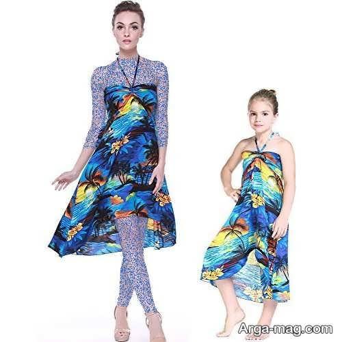 مدل لباس مجلسی ست حریر برای مادر و دختر