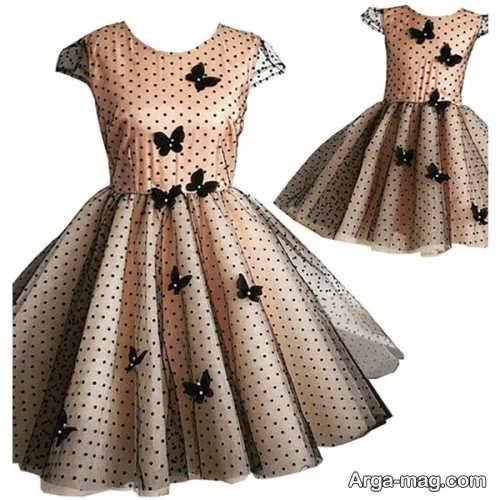 مدل لباس مجلسی طرح دار و ست برای مادر و دختر