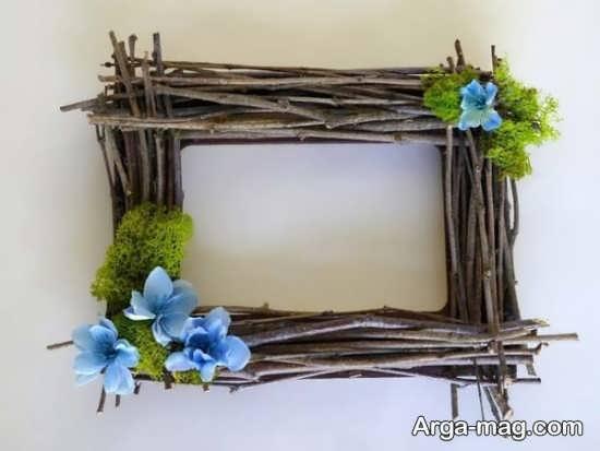 تزیین قاب عکس با چوب و گل