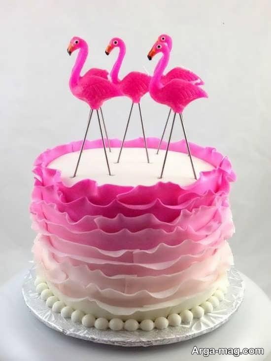 طراحی کیک با فلامینگو