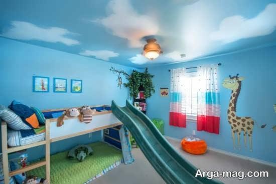 تزیین زیبای اتاق با تم آبی