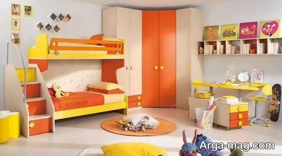 تزیین اتاق کودک با دو رنگ زرد و نارنجی
