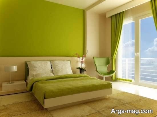 طراحی اتاق خواب دو نفره با تم سبز