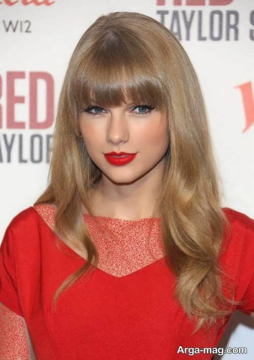 مدل میکاپ دخترانه با لباس قرمز