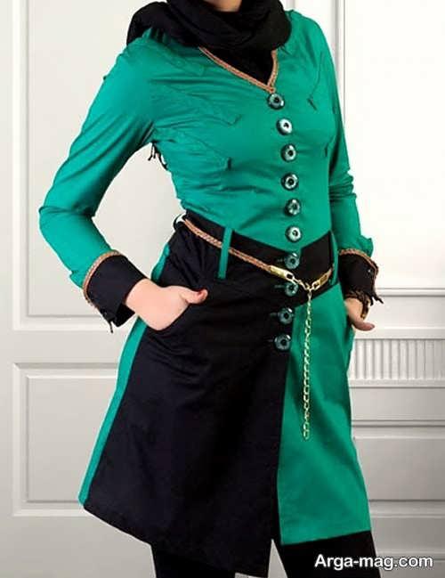 مدلی از مانتو سبز و مشکی