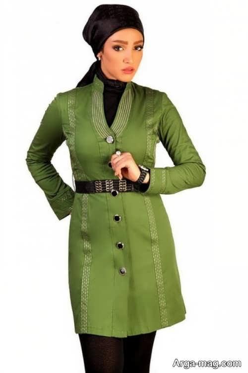 مدل مانتوی شیک و زیبا سبز