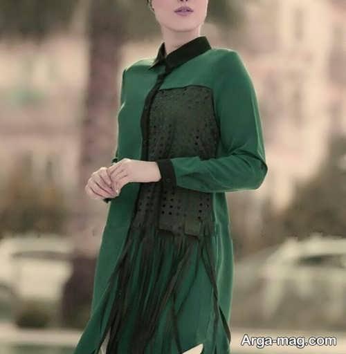 مدل مانتو کوتاه سبز