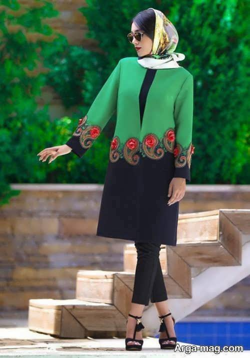 مدل مانتو مجلسی سبز