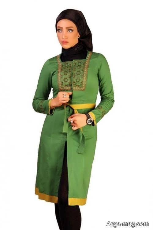 مدل مانتوی زیبا و شیک سبز