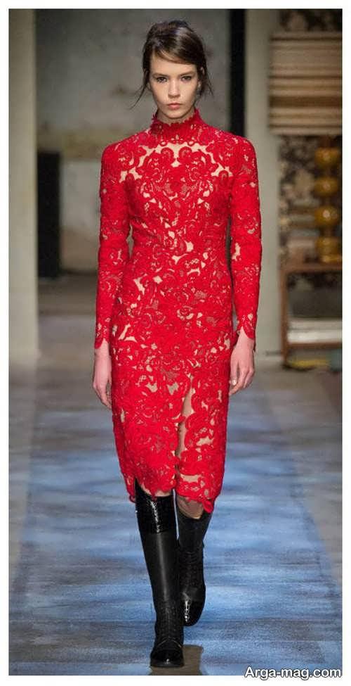 مدل لباس مجلسی قرمز گیپور