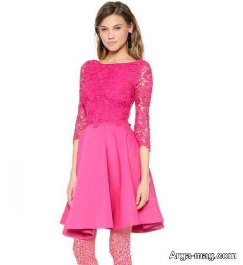 مدل لباس مجلسی صورتی گیپور