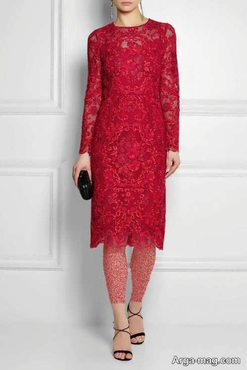 مدل پیراهن گیپور قرمز