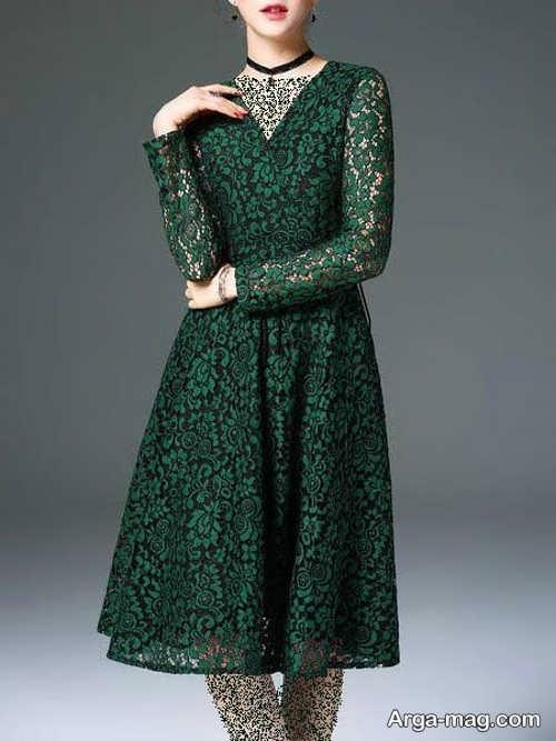 مدل لباس مجلسی سبز گیپور