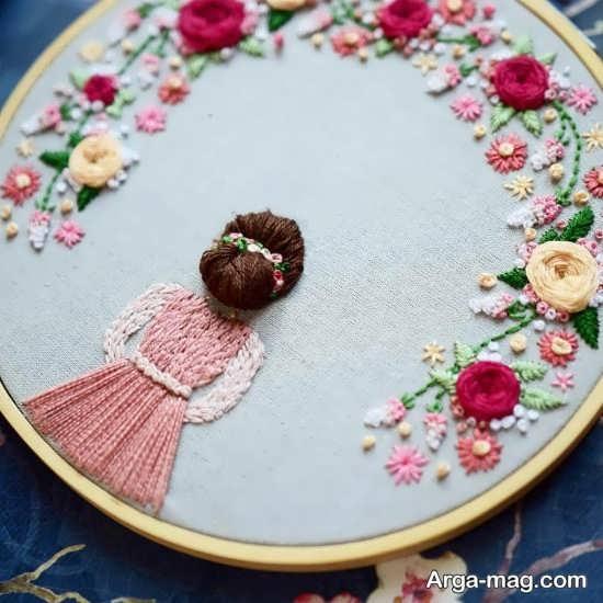 طرح زیبای گلدوزی روی پارچه