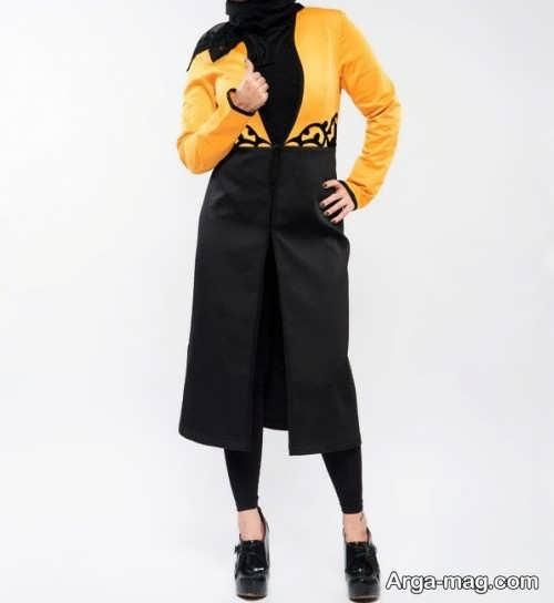 مدل مانتو اسپرت بلند زرد و مشکی