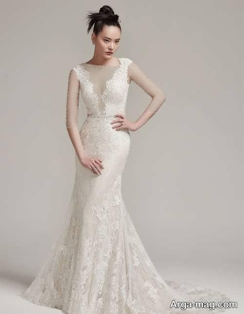 مدل لباس عروس زیبا با یقه هفت