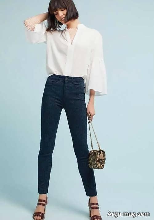 مدل شلوار جین با رنگ تیره