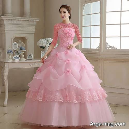 مدل لباس عروس زیبا و خاص صورتی