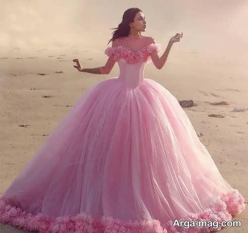 مدل لباس عروس شیک صورتی
