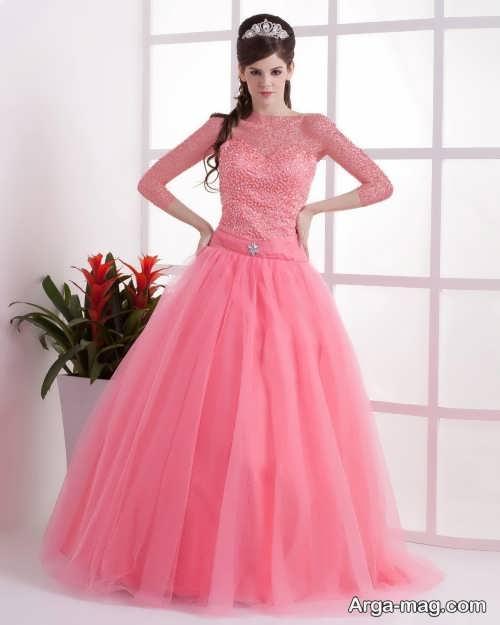 لباس عروس صورتی شیک و جذاب