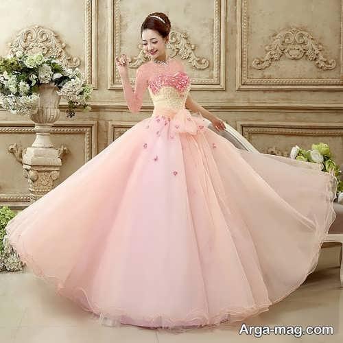 مدل لباس عروس صورتی کم رنگ
