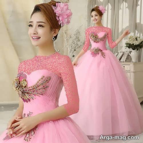 مدل لباس عروس صورتی کره ای