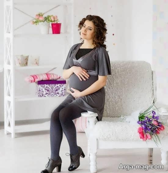 فیگور زیبای عکس بارداری با همسر