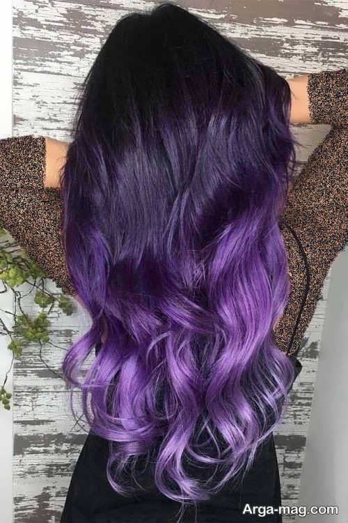 رنگ موی زیبا و جدید بنفش