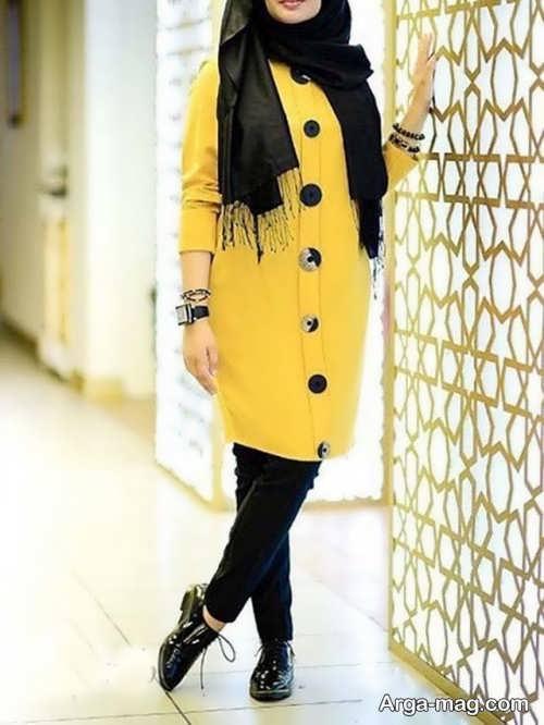 مدل مانتو زرد دخترانه